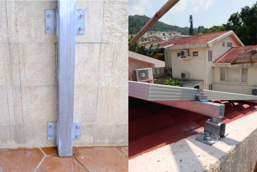 不損害屋頂防水層的支架設計
